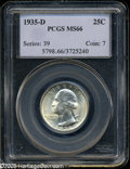 Washington Quarters: , 1935-D 25C MS66 PCGS. Boldly struck and fully lustrous, withsparkling surfaces that are essentially untoned, even if trace...