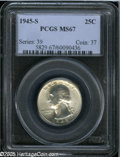Washington Quarters: , 1945-S 25C MS67 PCGS. Fully struck and nearly pristine, with brightsilver-gray surfaces that only have a few tiny contact ...
