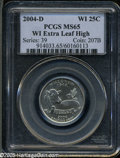Statehood Quarters: , 2004-D 25C Wisconsin Extra Leaf High MS65 PCGS. A lustrous andnearly brilliant example of this popular variety, certain to...