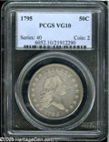 Early Half Dollars: , 1795 50C 2 Leaves VG10 PCGS. O-131, R.4. A pearl-gray example withpleasing definition for the assigned grade. A handling m...