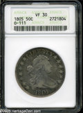 Early Half Dollars: , 1805 50C VF30 ANACS. O-111, R.3. Medium ocean-blue and rose colorsembrace this moderately circulated but problem-free Drap...
