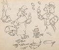 animation art:Model Sheet, Pinocchio Foulfellow Model Sheet Art (Walt Disney, 1940)....