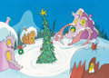Animation Art:Painted cel background, How the Grinch Stole Christmas Whoville Christmas TreePreliminary Painted Background (MGM, 1966)....