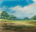Animation Art:Painted cel background, Robin Hood Meadow Painted Background with Cel Overlay (WaltDisney, 1973)....