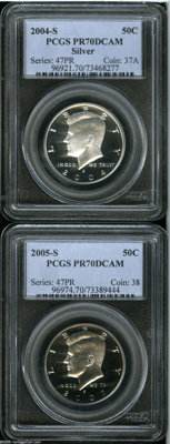 2004-S 50C Silver PR70 Deep Cameo PCGS, immaculate, snow-white; and a 2005-S Clad PR70 Deep Cameo PCGS, outstanding whi...