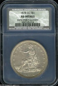 1878-CC T$1 AU Details, Improperly Cleaned, NCS. This faintly hairlined and slightly granular piece has retoned in dove-...