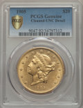Liberty Double Eagles, 1905 $20 -- Cleaning -- PCGS Genuine Secure. Unc Details. NGC Census: (81/390 and 0/3+). PCGS Population: (48/507 and 0/6+)...