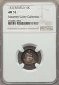 Seated Dimes, 1837 10C No Stars, Large Date AU58 NGC. EX: Maumee Valley Collection. NGC Census: (53/218). PCGS Population: (34/176). AU58...