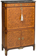 Furniture , A Louis XVI-Style Parquetry Secretaire a Abattant, late 18th-early 19th century. 56-1/4 h x 35 w x 15-1/4 d inches (142.9 x ... (Total: 3 Items)
