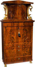 Furniture , A Biedermeier Mahogany and Giltwood Architectural Secretary with Dolphin Pilasters, Northern Germany, circa 1825. 79-1/2 h x... (Total: 3 Items)