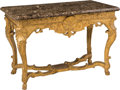 Furniture , A French Régence Giltwood and Marble Console Table, circa 1720. 31-1/2 h x 46 w x 25-3/8 d inches (80.0 x 116.8 x 64.5 cm). ... (Total: 2 Items)