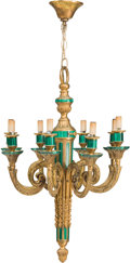 Decorative Arts, Continental:Lamps & Lighting, A Russian-Style Malachite and Gilt Bronze Chandelier, early 20thcentury. 25-1/2 inches high x 18-1/2 inches diameter (chain...