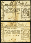 Colonial Notes, New York February 16, 1771 £3; £10 Very Fine.. ... (Total: 2 notes)