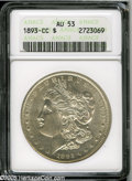 Morgan Dollars: , 1893-CC S$1 AU53 ANACS. This CC dollar displays a silvery appearance, and traces of luster in the recessed areas. The desig...
