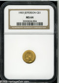Commemorative Gold: , 1903 G$1 Louisiana Purchase/Jefferson MS64 NGC. Lustrousgolden-orange and lilac color is interspersed over each side ofth...