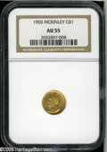 Commemorative Gold: , 1903 G$1 Louisiana Purchase/McKinley AU55 NGC. An attractive coinand good value, there is just the slightest bit of fricti...
