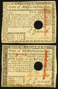 Colonial Notes, Massachusetts May 5, 1780 $2; $8 Very Fine, POC.. ... (Total: 2 notes)