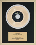 """Music Memorabilia:Awards, Connie Francis In-House 'MGM Records' Award for """"Mama"""" (MGM,1959)...."""