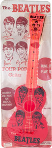 Music Memorabilia:Memorabilia, Beatles Four Pop Vintage Toy Guitar by Mastro on Reproduction Display Card and Instruction Book (NEMS, 1964). ...