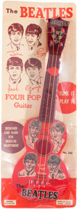 Music Memorabilia:Memorabilia, Beatles Four Pop Vintage Toy Guitar by Mastro on Original Display Card (NEMS, 1964)....