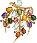 Estate Jewelry:Brooches - Pins, Multi-Stone, Gold Brooch, Cellino. ...