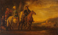 Fine Art - Painting, European:Antique  (Pre 1900), After Aelbert Cuyp . Landscape with Three Riders, a Groom and Dogs in a Landscape. Oil on canvas. 19-1/4 x 39-3/8 inches...