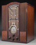 A Zenith Art Deco Model 835 Domestic and International Tombstone AM Radio with Chromed Grille, circa 1935 22 h x 1