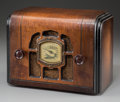 Decorative Arts, Continental:Other , A Clipper Wooden AM Radio. 7-1/2 h x 10 w x 5-1/2 d inches(19.1 x 25.4 x 14.0 cm)...