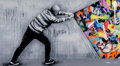 Fine Art - Work on Paper:Print, Martin Whatson (Norwegian, b. 1984). Behind the Curtain,2017. Spray paint and stencil in colors on acrylic. 15-3/4 x 28...