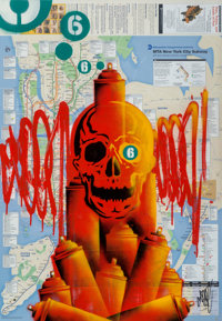 Seen UA (American, b. 1961) Red Skull, c. 2007 Acrylic and stencil in colors on NYC subway map 32