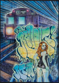 Fine Art - Work on Paper:Print, Dr. Revolt (American, 20th/21st Century). Miss Subway 10.36, 2012. Acrylic, marker, and spray paint on NYC metro map. 32...