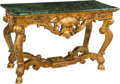 Furniture : Continental, A Régence-Style Giltwood and Marble Center Table, 20th century. 32h x 52 w x 24 d inches (81.3 x 132.1 x 61.0 cm). PROPER... (Total:2 Items)