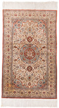 Rugs & Textiles:Hook Rugs, A Near Pair of Persian Silk Rugs. 72 inches long x 36 inches wide(182.9 x 91.4 cm) (including fringe). PROPERTY FROM A LO... (Total:2 Items)