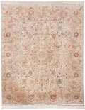 Rugs & Textiles:Carpets, A Silk Hereke Carpet. 10 feet 9 inches long x 8 feet 2 inches wide(327.7 x 248.9 cm) (including fringe). PROPERTY FROM A ...