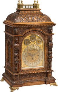 A Walter Durfee & Co. Baroque Revival Carved Oak Eight Day Mantle Clock, Works Attributed to L.L. Elliott, London, l...