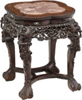 Asian:Chinese, A Chinese Carved Hardwood Low Table. 19 h x 14-1/2 w x 14-1/2 dinches (48.3 x 36.8 x 36.8 cm). ...