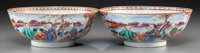 A Pair of Chinese Export Famille Rose Porcelain Bowls, late 18th-early 19th century 3-1/4 inches high x 7-1/2 inches dia...