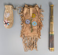 American Indian Art:Beadwork and Quillwork, Two Plateau Beaded Hide Pouches with Telescope ... (Total: 3 Items)