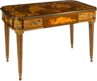 A Fine Louis XVI-Style Mahogany, Satinwood, and Marquetry Library Table with Astronomical Motif after Jean-Henri Riesene...