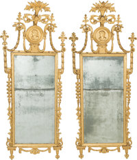 A Pair of Neoclassical Giltwood Mirrors with Medallion Bonnets, 19th century 74 inches high x 32 inches