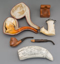 Decorative Arts, French:Other , Three Napoleonic-Themed Meerschaum and Carved Wood Pipes withScrimshaw, late 19th century and later. Marks: (various). 6-3/...(Total: 5 Items)