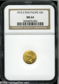 Commemorative Gold: , 1915-S G$1 Panama-Pacific Gold Dollar MS64 NGC. The satiny surfacesare remarkably free from marks, with the only ones of a...