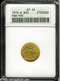 Commemorative Gold: , 1915-S $2 1/2 Panama-Pacific Quarter Eagle XF45 ANACS. One wondersif this noticeably worn Pan-Pac Quarter Eagle actually c...