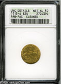 Commemorative Gold: , 1915-S $2 1/2 Panama-Pacific Quarter Eagle--Cleaned--ANACS. UncDetails, Net AU50. A seemingly old cleaning has since been ...