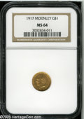 Commemorative Gold: , 1917 G$1 McKinley MS64 NGC. In addition to this coin's bright,semi-prooflike finish in the fields, the surfaces display ri...
