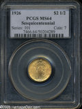 Commemorative Gold: , 1926 $2 1/2 Sesquicentennial MS64 PCGS. Peach-gold surfaces areimbued with faint light green undertones, and exhibit radia...