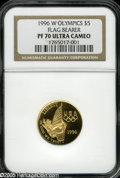 Modern Issues: , 1996-W G$5 Olympic/Flag Bearer Gold Five Dollar PR70 Ultra Cameo PCGS. A flawless example of this low mintage modern gold c...