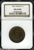 Coins of Hawaii: , 1847 1C Hawaii Cent MS64 Brown NGC. Crosslet 4, 15 berries. M.2CC-2. Traces of orange-tinged luster fill recessed areas. A...