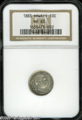 Coins of Hawaii: , 1883 10C Hawaii Ten Cents MS63 NGC. Light gray toning rests gentlyabout the surfaces of this wholly original and boldly lu...