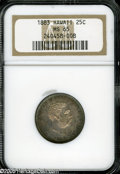 Coins of Hawaii: , 1883 25C Hawaii Quarter MS65 NGC. Luscious original toning adornseach side of this lustrous, well struck Gem. Other than a...
